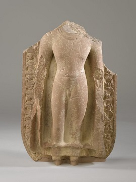 Image: Standing Buddha Mathura, Uttar Pradesh, India; 5th century, Gupta period (320-550 CE), Red Sandstone Brooklyn Museum, Gift of Ernest Erickson Foundation, Inc, 86.227.47