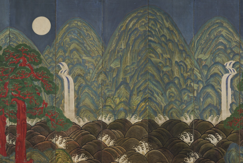 Detail from Sun, Moon, and Five Peaks, artist/maker unknown, Joseon Dynasty (1392-1910), 19th century. (Philadelphia Museum of Art)Treasures from Korea