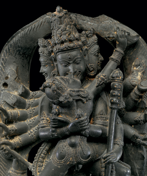 Twelve-Armed Chakrasamvara and His Consort Vajravarahi (detail), ca. 12th century. India, west Bengal or Bangladesh. Phyllite; H. 5 in. (12.7 cm); W. 3 1/8 in. (7.9 cm); D. 1 1/2 in. (3.8 cm). The Metropolitan Museum of Art, New York, Gift of Mr. and Mrs. Perry J. Lewis, 1988 (1988.392)
