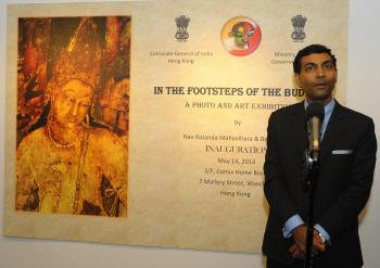 "Prashant Agrawal speaking at the inauguration of ""In the Footsteps of the Buddha"" on May 14. From the Indian Consulate in Hong Kong."