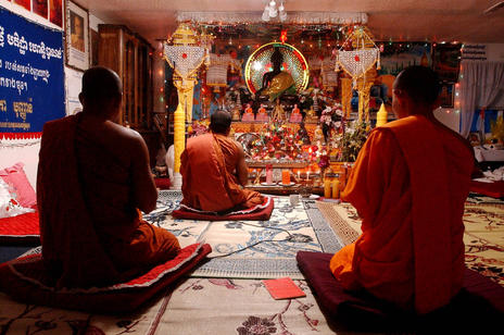 Inside the chapel of the Wat Buddhikaram temple in West Valley City, October 9, 2002., Keith Johnson, Deseret News Archives