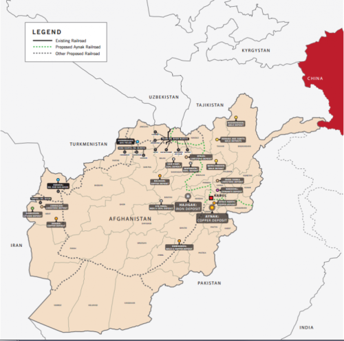 A map of Afghanistan's resources and the railroad projects proposed by the China Metallurgical group as part of their original contract for the Mes Aynak site. Global Witness