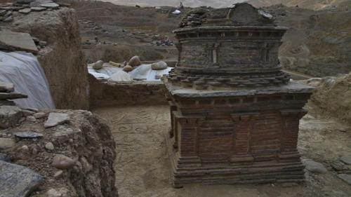 An ancient Buddhist stupa uncovered at the Mes Aynak archaeological site. Brent Huffman