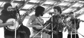 Rowan's relatively short-lived but highly influential string band, Old and in the Way. From left: Jerry Garcia, John Kahn, David Grisman, Rowan and Vassar Clements.