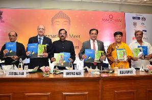 ,Union Tourism & Culture minister Shripad Naikwith (L-R) Dharmacharya, Shantum Seth, Mr Dipak Haksar, Chairman, ASSOCHAM National Council on Tourism & Hospitality, Mr Rana Kapoor, President, ASSOCHAM, His Holiness,The Gyalwang Drukpa and Ashok Ch Panda, Odisha Tourism & Culture minister at an ASSOCHAM International Meet on Buddhist Tourism in New Delhi