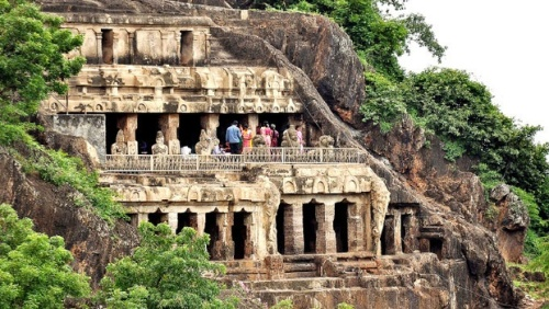 Tourists enjoying the beauty of the Undavalli caves in Guntur district on Monday. (Bottom) A view of the famous Mogalrajpuram caves that are located in the heart of Vijayawada | EXPRESS PHOTO