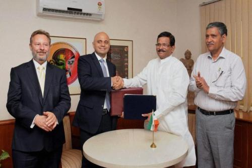 Shripad Naik, India's minister of state for culture and Sajid Javed, UK's secretary in the department of culture, media and sport signed the memorandum of understanding in New Delhi on Wednesday. Photo: PTI