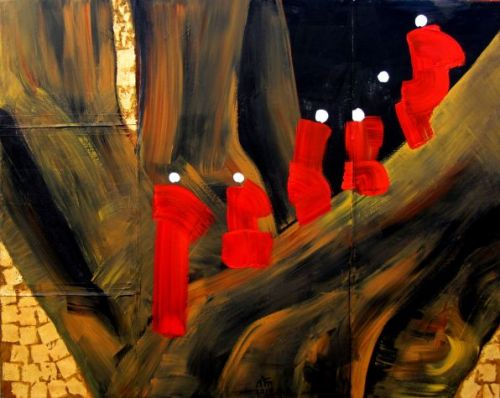 Nann Nann, Six Monks in the Red Robe,  2014 Acrylic, 121cm X151cm, Presented by Instersections - See more at: http://sea.blouinartinfo.com/photo-galleries/works-by-5-artists-from-myanmar#image=5
