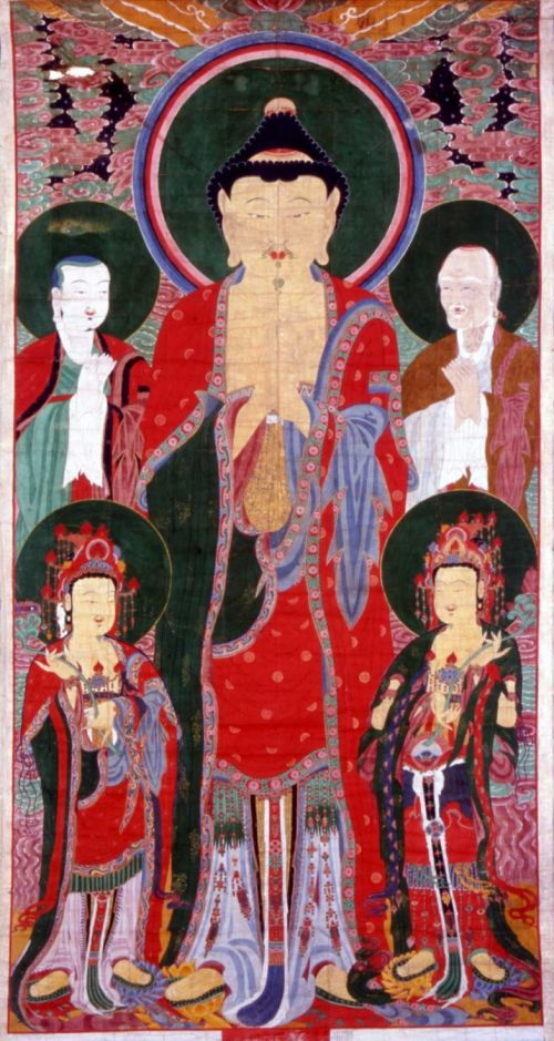 "The 23-foot-tall banner painting ""Vairocana Assembly,"" above, on hemp made in 1750, has never left Korea before and is unique to the Houston showing of ""Treasures From Korea."""