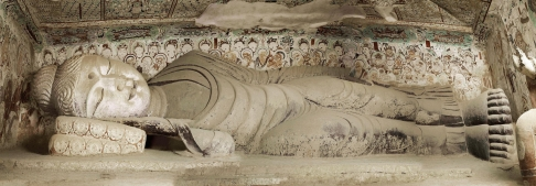 A reclining Buddha In Nirvana in Dunhuang Caves, Gansu province.