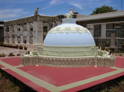 A replica of Buddhist Mahastupa located at the Archaeology Museum at Amaravathi in Guntur District. The town is declared as a heritage city. Photo: T. Vijaya Kumar