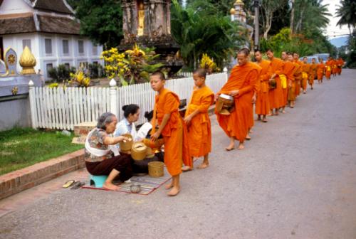Alms giving, Luang Prabang, Laos, 2009.