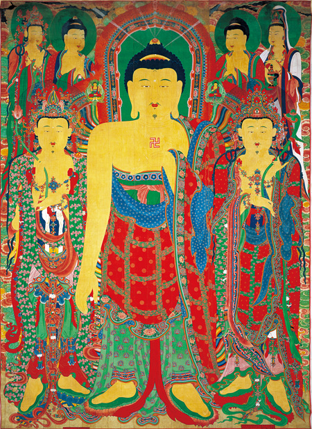 The 13.17-meter-height Buddhist hanging scroll painting is on display at the National Museum of Korea in Seoul through April 26, next year. / Courtesy of National Museum of Korea