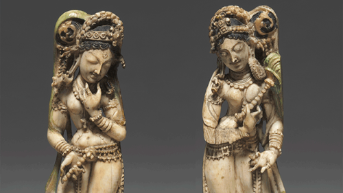 Ivory figures carved in the 8th century in Kashmir included in the Block exhibit.