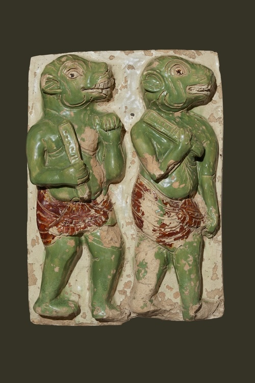 Mara's Demons. Shwegugyi Temple, Pegu, Ca. 1479. Glazed earthenware. National Museum, Nay Pyi Taw. (Photo: Sean Dungan)