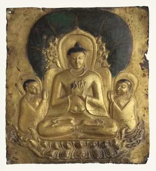 Plaque with image of seated Buddha. Pagan period, 11th–13th century. Gilded metal with polychrome. Bagan Archaeological Museum (Photo: Sean Dungan)