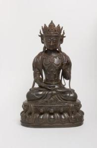 Seated Bodhisattva Chinese Yuan dark k patinated copper alloy first half 14c