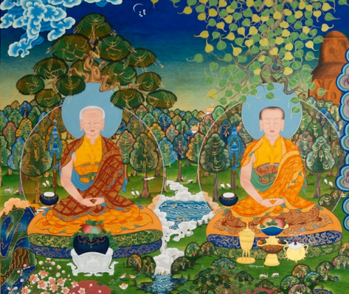 A continuation of the Dongyu Gatsal Ling Nunnery Temple mural shown above, with this depicting two of the first Buddhist nuns (bikshunis) who are historically reputed to have followed Mahapajapati Gotami. Painted by Kalsang Damchoe and The Kalsang Tibetan Traditional Art of Thangka Painting studio.