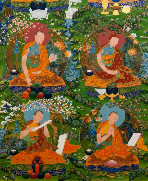 A continuation of the same Dongyu Gatsal Ling Nunnery Temple mural shown in the two above photos and depicting four of the first Buddhist nuns (bikshunis) reputed to have followed Mahapajapati Gotami. Painted by Kalsang Damchoe and The Kalsang Tibetan Traditional Art of Thangka Painting studio.