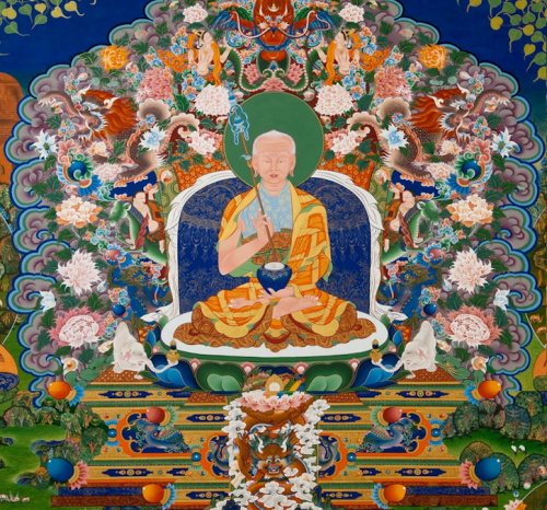 This is Mahapajapati Gotami, the Buddha's stepmother and aunt and the first woman to request and receive ordination from the Buddha. It is one detail from the mural, with two other details continued in the two photos immediately below. In those photos we see six of the first Buddhist nuns (bikshunis) who followed Mahapajapati Gotami's example and here accompany her in making preparations for meditation. It is believed that the Dongyu Gatsal Ling Nunnery and Temple founded by Jetsunma Tenzin Palmo is the first Himalayan Buddhist temple to have installed depictions of these nuns. This rendering, and most of the work in this article, was done by the Tibetan artist-in-exile, Kalsang Damchoe and his assistants and students from the Kalsang Tibetan Traditional Art of Thangka Painting studio.