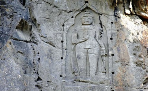 The famous Kargah Buddha in Gilgit.