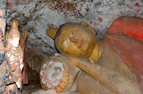 The reclining Buddha at Danagirigala, Sri Lanka which lost an eye and suffered other damage in 2005. Photo courtesy of Department of Archaeology Sri Lanka/DPA