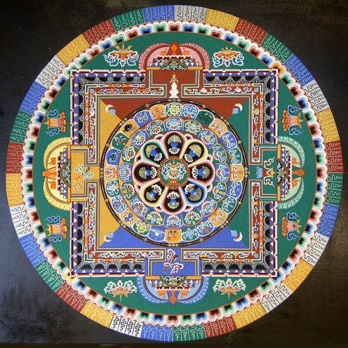 For each mandala, the monks pour millions of grains of sand into a traditional pattern using a funnel tool called chak-pur. The process can take up to five days to complete. - PHOTO COURTESY OF ANET CARLIN