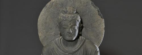 Buddha in Meditation, Indian | 3rd century CE, Gandhara period | Grey Schist | Evelyn Horton Bequest | AGGV 2009.004.001