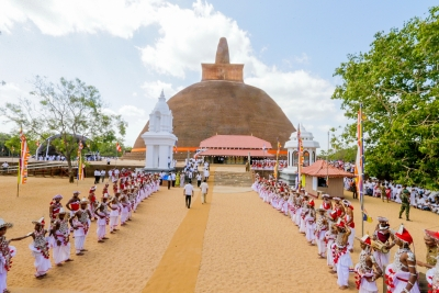 President Maithripala Sirisena unveiled the archeologically restored historic Abayagiriya Chaithya (Stupa) for the public on Friday (31), the Esala Poya Day.