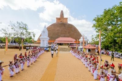 President Maithripala Sirisena unveiled the archeologically restored historic Abayagiriya Chaithya (Stupa) for the public on Friday (31), the Esala Poya Day.