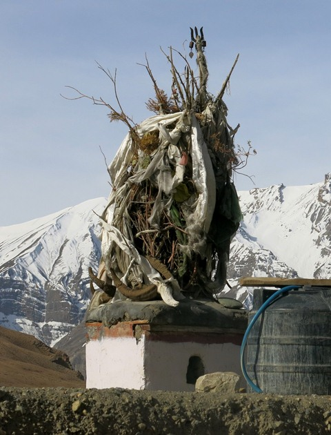 A shrine for the god Dungmarchen on the rooftop of a house, Kibbar.