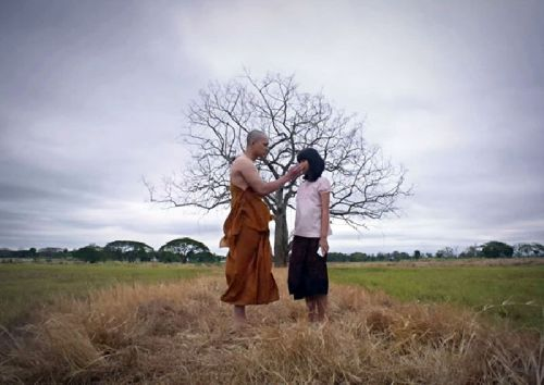 A scene from the forthcoming horror film 'Arbat,' which has incensed Buddhist hardliners for depicting a novice monk engaging in forbidden behavior.