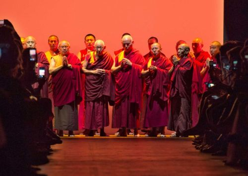 FILE - In this file photo of Sunday Sept. 13, 2015, Buddhist monks perform before the Prabal Gurung Spring 2016 collection is modeled during Fashion Week in New York. Gurung opened his runway show with 30 Buddhist monks who had traveled to New York to chant a prayer of gratitude for the world's help during the devastating earthquake that killed thousands in Gurung's native Nepal in April. Photo: Bryan R. Smith, AP / FRE171336 AP