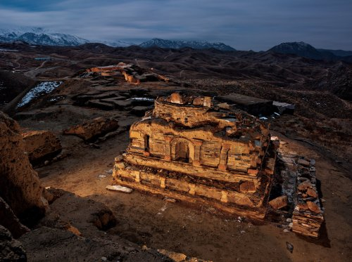 Nearly a hundred ancient Buddhist shrines like this one have been uncovered by archaeologists at Mes Aynak, south of Kabul. © Simon Norfolk/National Geographic