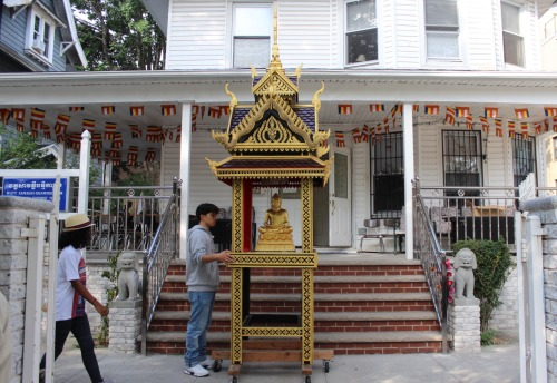 Photo by Shannon Geis/Ditmas Park Corner Neighbor Savath Chan worked on the pagoda he built for Watt Samakki Buddhist Temple for nearly a year after coming home from his day job at Methodist Hospital.