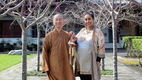 Venerable Jue Hao and artist Tiffany Singh are preparing for the upcoming exhibiton at Fo Guang Shan Temple.