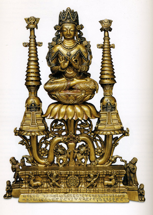 Crowned Buddha Shakyamuni. Kashmir or Gilgit, present-day northern Pakistan; 8th century; Brass with inlays of copper, silver and zinc. Courtesy RMA.