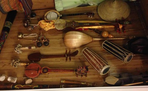 After visiting nearly 20 remote regions, Liang has collected over 100 rare musical instruments. (Photo courtesy of Liang Xu)