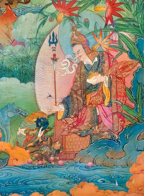 A detail from the Lukhang Temple murals showing Guru Rinpoche – or Padmasambhava – accepting obeisance from the naga king.