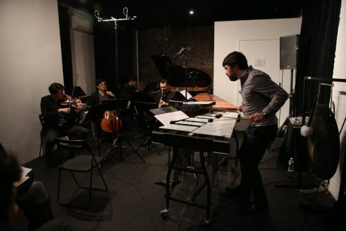 From left, Jacob Ashworth, John Popham, Lee Dionne, Gleb Kanasevich and Doug Perry performing Matthew Welch's compositions at the Stone. Credit Michelle V. Agins/The New York Times