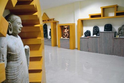 Sculptures from across Andhra Pradesh on display at the District Archaeological Museum in Visakhapatnam.— PHOTO: C.V. SUBRAHMANYAM