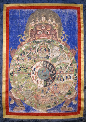 """""""Wheel of Life Tibet"""" (19th century, pigments on cloth) connects to the emotion of sadness, as it depicts the Buddhist realm of Hungry Ghosts, where people never satisfied in their past lives are reborn. Image courtesy Rubin Museum of Art."""