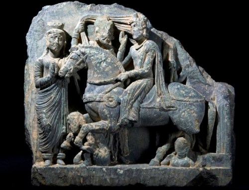 This sculpture, uncovered in the ancient city of Bazira, tells a Buddhist story involving Siddhartha, who later became the Gautama Buddha. Credit: Photo by Aurangzeib Khan, Courtesy ACT/Italian Archaeological Mission