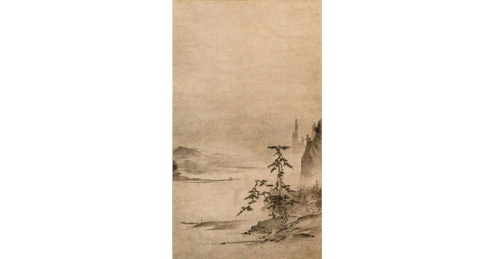 Attributed to Tenshō Shūbun (fl. 1414–1463). River Landscape. Japan, Muromachi period, 15th century. Hanging scroll; ink on paper. Purchased with Funds from the Robert F. Lange Foundation, 1992. (7021.1)