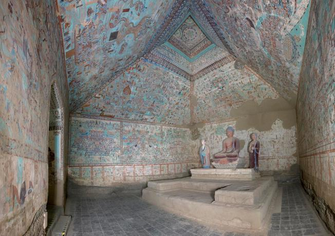A view of the interior of cave 85, from the Late Tang Dynasty (848-907 C.E.). photo credit: Dunhuang Academy
