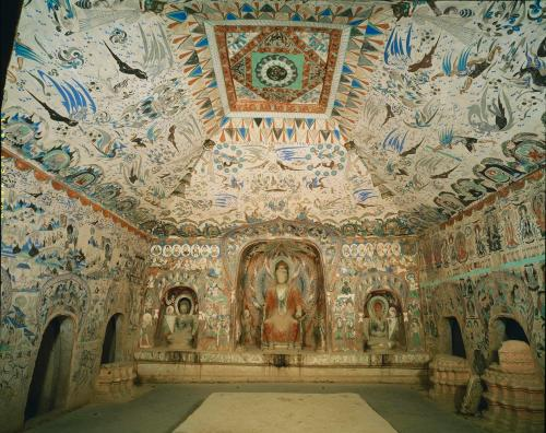A view of the interior of cave 285, created in the Western Wei Dynasty (535-556 C.E.) photo credit: Dunhuang Academy