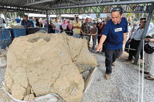 Important find: Dr Mokhtar showing the furnace excavated from the archaeology site of 'Relau Kg Chemara Jeniang' to conference delegates at the festival site.