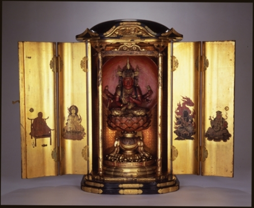Aizen Myo-o (King of Bright Passion) Zushi Shrine with Bishamonten (Guardian of the North), Fudo Myo-o (Immovable Protector), Juichimen Kannon (Bodhisattva of Compassion), the Monk Kukai, Japan, Edo Period (1603–1868). Wood, gold, colors, lacquer, wires, and metal fastenings. Newark Museum, Purchase 1909 George T. Rockwell Collection, 9.858