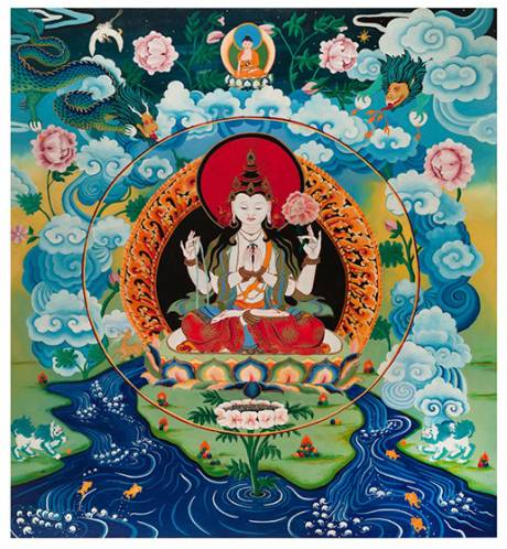 "Submitted artwork by thangka artist Joanna Angie as featured in new exhibit at GCC's Roz Steiner Gallery called ""Meditation."""