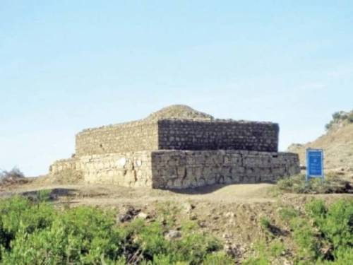 Structures of Ban Faqiran atop Margalla Hills eroding away. PHOTO: FILE